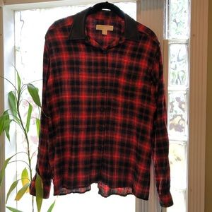 Michael Kors  plaid shirt w/faux leather collar